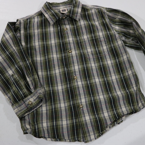 16 Other - Faded Glory Green Stripe Button Dress Shirt 5T